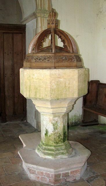 All Saints' church in Tattersett - C15 baptismal font