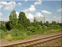 TQ2696 : The gasometer structure near New Barnet railway station by Steve  Fareham