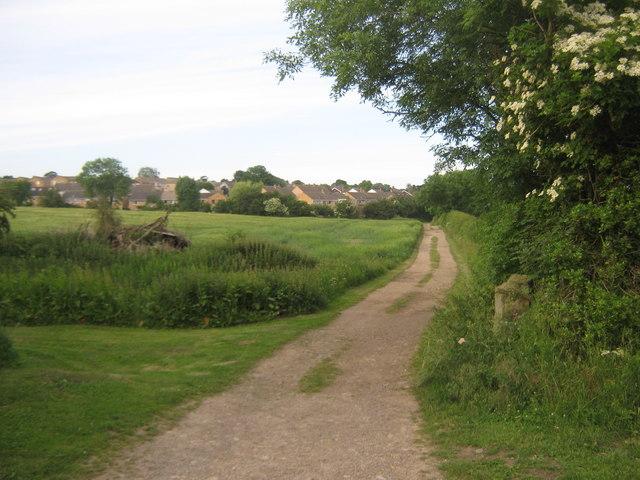 Footpath on farm track crossing Twins Burn Heighington