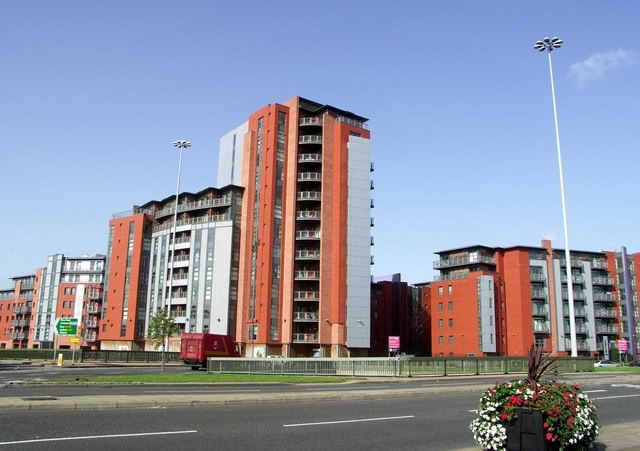 Flats by a main road