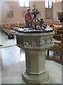 TQ1875 : Font of the church of St John the Divine by Stephen Craven