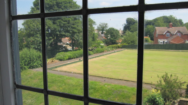 Bowling green seen from within the Willoughby Gallery