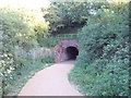 TM0026 : Railway bridge over footpath in Highwoods Country Park by PAUL FARMER