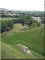 NY7914 : Earthworks, north-east corner of Brough Castle by Karl and Ali