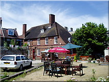 TQ0202 : Beer garden at The Dolphin by Peter Holmes