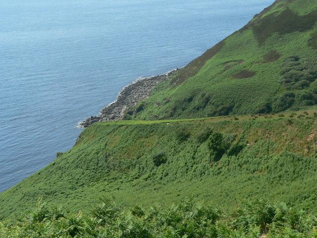 Steep land above Port Mean