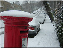 TQ3370 : Fox Hill in the snow; pillar box by Christopher Hilton