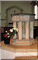 TF8411 : St Mary's church in Sporle - C13 baptismal font by Evelyn Simak