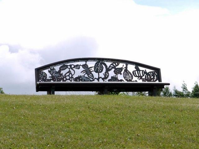 Cut steel bench, Riverside Park, Hebburn