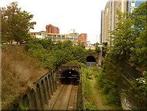 SP0686 : Railway tunnel towards Birmingham New Street by Andrew Abbott