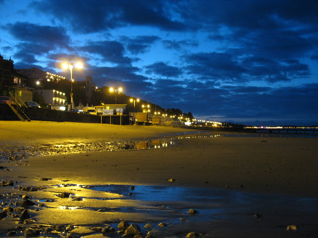 Shanklin beach after sunset