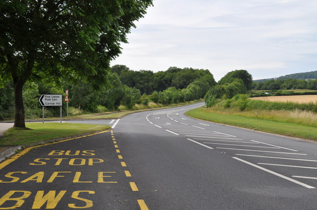 Looking along A48 at Five Lanes junction