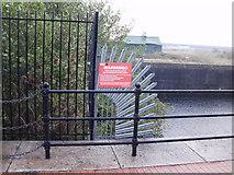 ST1974 : Warning of toxic algae, Cardiff Bay by Jaggery