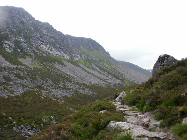 Ascending the path in the Lairig Ghru
