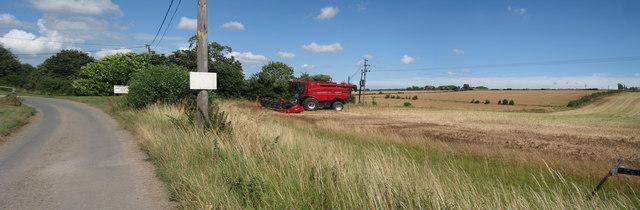 Combine Harvester at Bossington Farm