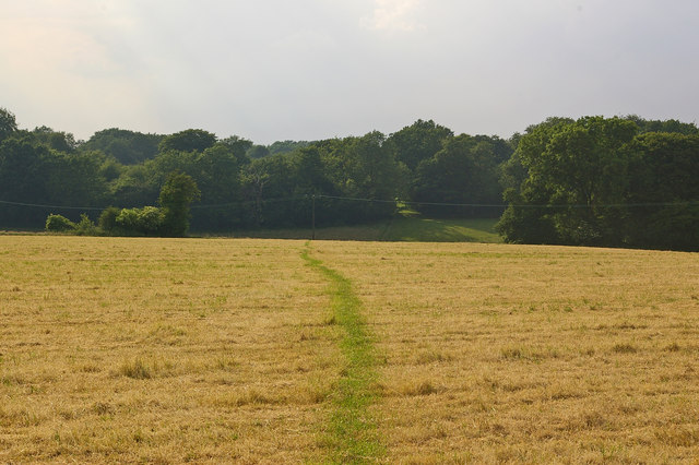 Footpath across stubble field