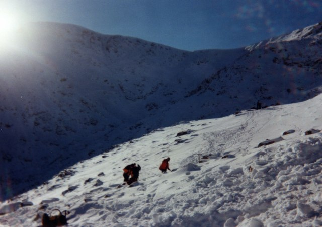 Searching avalanche debris, Coire H-uamha