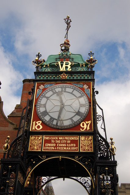 The clocktower above Eastgate in Chester