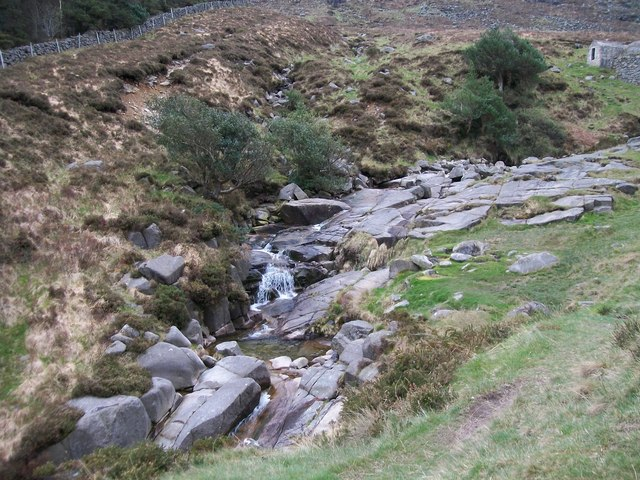 Blocks of granite in the river bed below the ice house