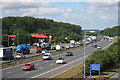 TQ4254 : M25 past Clacket Lane Services by Oast House Archive
