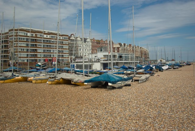 Bexhill beach and Sailing Club building
