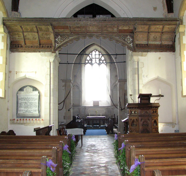 St Nicholas' church in Fundenhall - candle beam and canopy