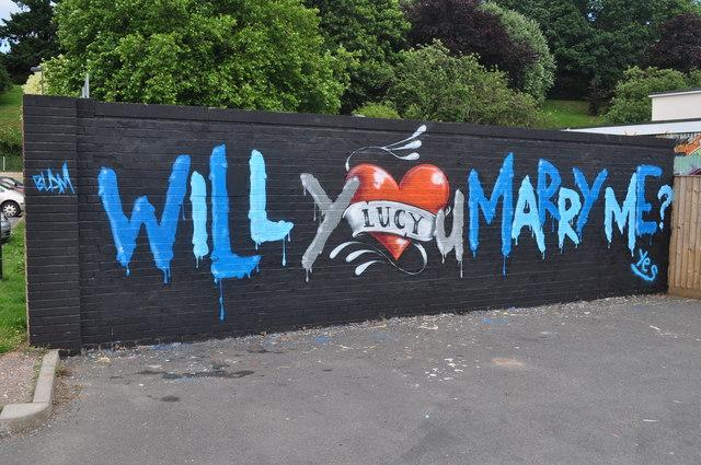 Tiverton : Graffiti Marriage Proposal