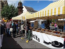 NY9364 : Continental food market, Hexham by Oliver Dixon