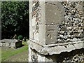 TG1712 : Bench mark at Costessey St. Edmund's church. by Adrian S Pye