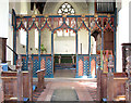 TG1712 : St Edmund's church in Costessey - medieval screen by Evelyn Simak