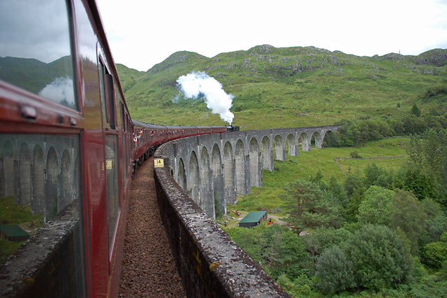 The Jacobite crossing the Glenfinnan Viaduct