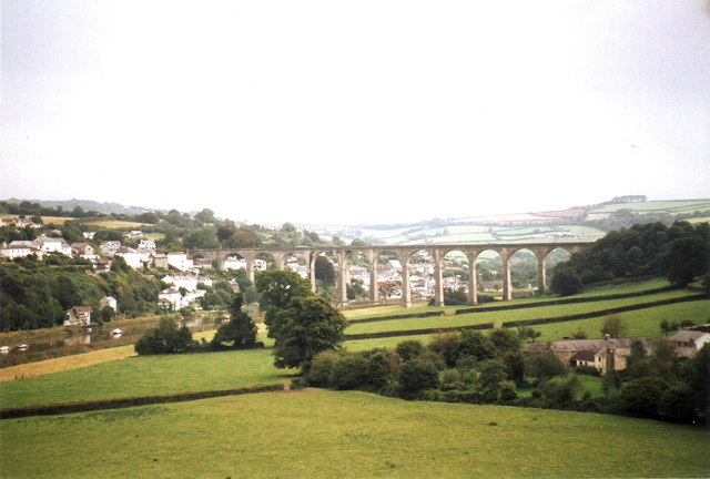 Looking across fields to Calstock