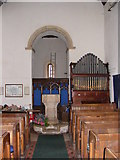 TG1807 : St.Andrew's Church Font & Organ, Colney by Adrian Cable