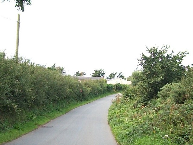 View west along the road towards Glanrhyd