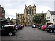NY9364 : Hexham Abbey and Market Place by Philip Barker
