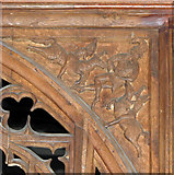 TL7388 : The church of St James in Wilton - rood screen (detail) by Evelyn Simak