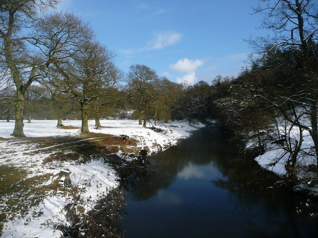 View of river from Monk's Bridge, Hulne Park, Alnwick