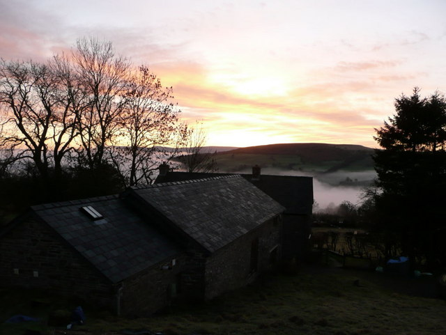 View of Llwydallt looking across the valley at sunrise