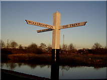 SJ9922 : Great Haywood Junction Fingerpost, Staffordshire by Liz Taylor