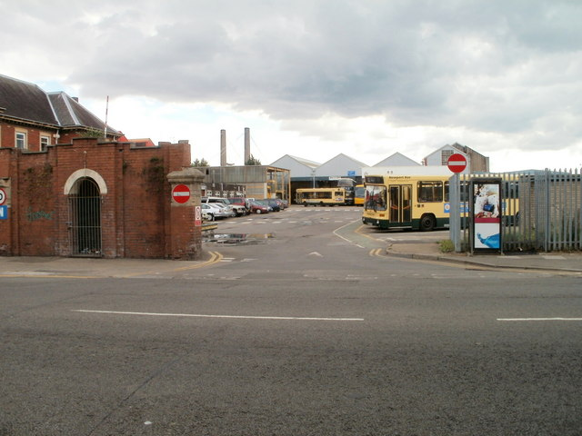 Exit road from Newport bus depot, Corporation Road by Jaggery