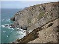 SW6948 : Cliffs near Porthtowan by Philip Halling
