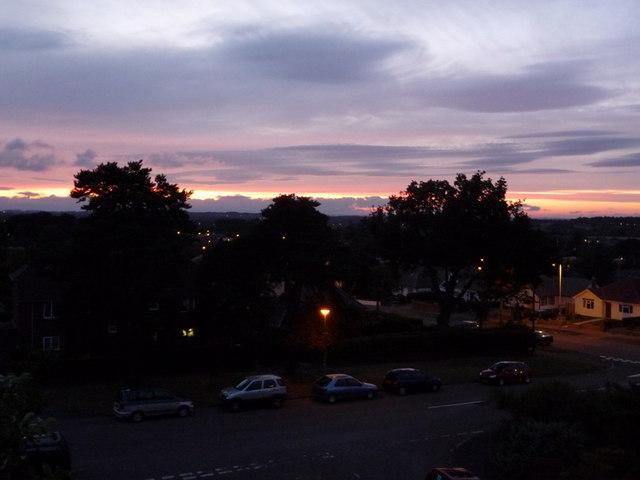 Northbourne: mauve sky over Leybourne Avenue