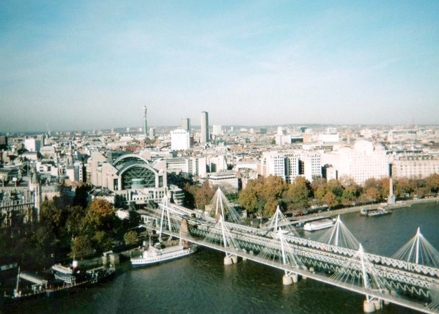 View of bridge & Charing Cross Station from London Eye