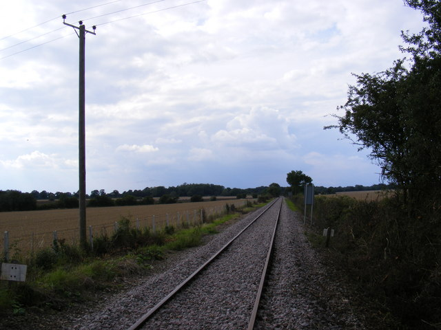 Looking along the railway line to Saxmundham