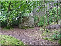 NG5536 : Building in Inverarish Woods by John Allan