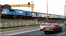 J3574 : Train near Bridge End, Belfast (2) by Albert Bridge