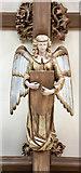 TQ2879 : St Paul, Wilton Place, London SW1 - Roof angel by John Salmon