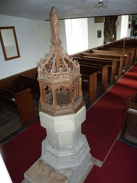 St Mary Magdalene , Friston: font as seen from the stairs to the balcony