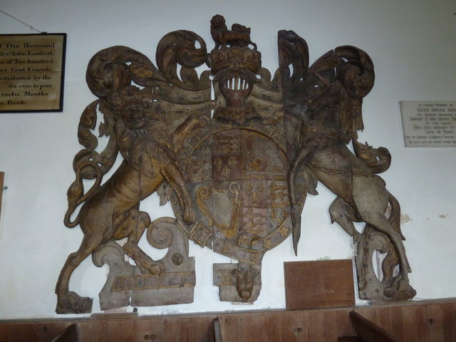 St Mary Magdalene , Friston: remarkable coat of arms (James I)