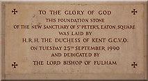 TQ2879 : St Peter, Eaton Square, London SW1 - Foundation stone by John Salmon